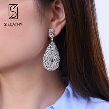 SisCathy 28*62mm Luxury Waterdrop Silver Earrings AAA Cubic Zirconia African Drop Dangle Earrings For Women Fashion Jewelry 2019 недорого