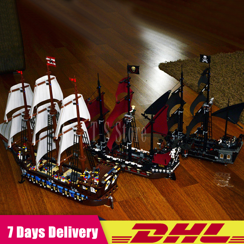 LEPIN 16006 The Black Pearl+16009 Imperial Warships+22001 Pirate Ship Imperial Warships Pirates of the Caribbean Building Blocks lepin 16006 16016 pirates of the caribbean 16009 queen anne s revenge legoinglys 70618 black pearl model building kits blocks