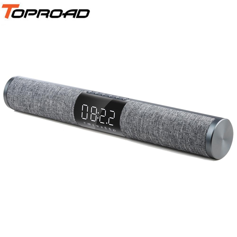 TOPROAD TV Bluetooth Soundbar Draagbare Draadloze Speaker 3D Surround Sound Subwoofer Speakers Ondersteuning FM Radio TF USB Wekker-in Draagbare Luidspreker van Consumentenelektronica op  Groep 1