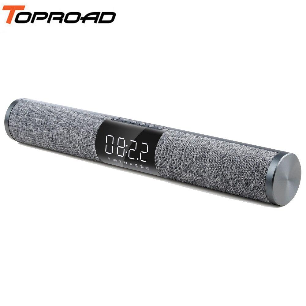 Toproad Tv Bluetooth Soundbar Tragbare Drahtlose Lautsprecher 3d Surround Sound Subwoofer Lautsprecher Unterstützung Fm Radio Tf Usb Wecker