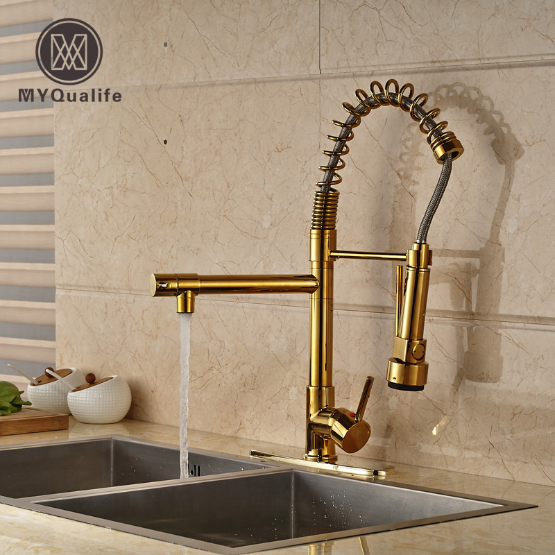 Golden Single Lever Kitchen Mixer Pull Down Sprayer Head Kitchen Sink Faucet Double Spout + 8 Hole Cover Plate new pull out sprayer kitchen faucet swivel spout vessel sink mixer tap single handle hole hot and cold