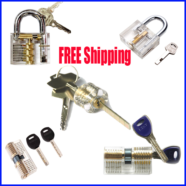 Free shipping 5 pcs/lot  transparent practice lock set  training practice lock professional practical locksmith free shipping with transparent cutaway new type vw practice auto lock for training practice