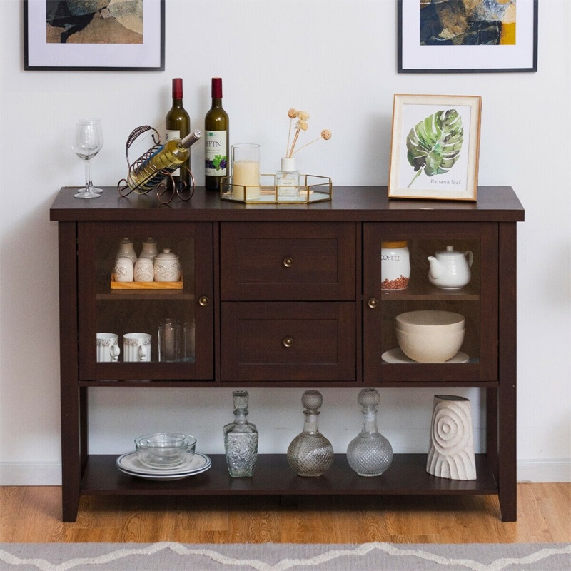 US $219.53 47% OFF|Wooden Sideboard Side Cabinet TV Cabinet Brown Tv Stand  With Adjustable Storage Shelf Home Living Room Furniture Cabinet HW60685-in  ...