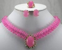 Plaqué mot fine luxueux rose gem anneau boucles d'oreilles collier pendentif set gros choker ensembles de bijoux pour femmes anime