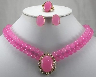 Plated word Fine Luxurious Pink gem Ring Stud Earrings Necklace Pendant Set wholesale choker jewelry sets