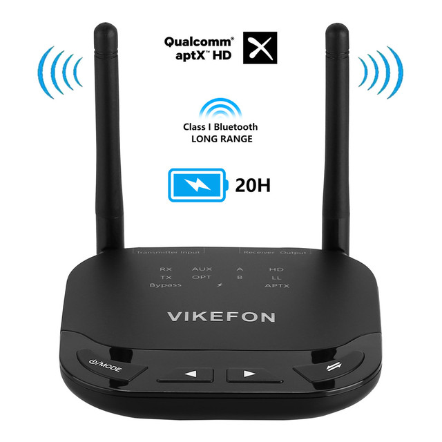 VIKEFON 262ft/80m Bluetooth 5.0 Audio Transmitter Receiver AptX HD/LL Low Latency TV Car PC Wireless Adapter SPDIF 3.5mm AUX RCA