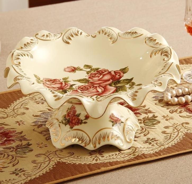 Ceramic Flower Shape Stem Fruit Plate Decorative Porcelain