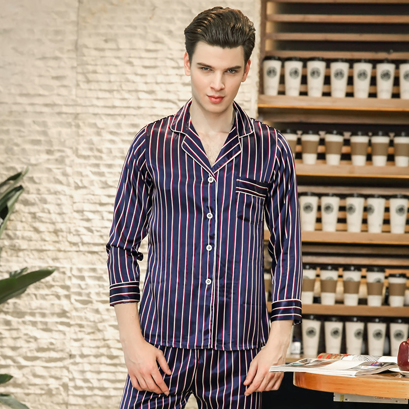 Buy 2019 Men Pajamas Set Spring New Pajamas Suit Silky Feel Sleep Set Striped 2PCS Sleepwear Soft Nightwear Casual Home Clothes for only 34.42 USD