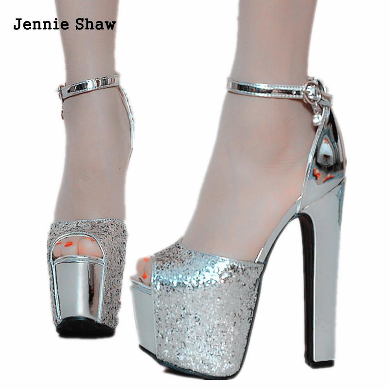 High Heel 14cm Gold Sliver Peep Toe Bling Bling Sandals Summer Sexy Woman Shoes
