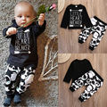 Infant Baby Newborn Boy Girl Little Heart Long Sleeve T-shirt Top+Panda Legging Long Pants 2pcs Outfit Set Baby Boy Girls Outfit