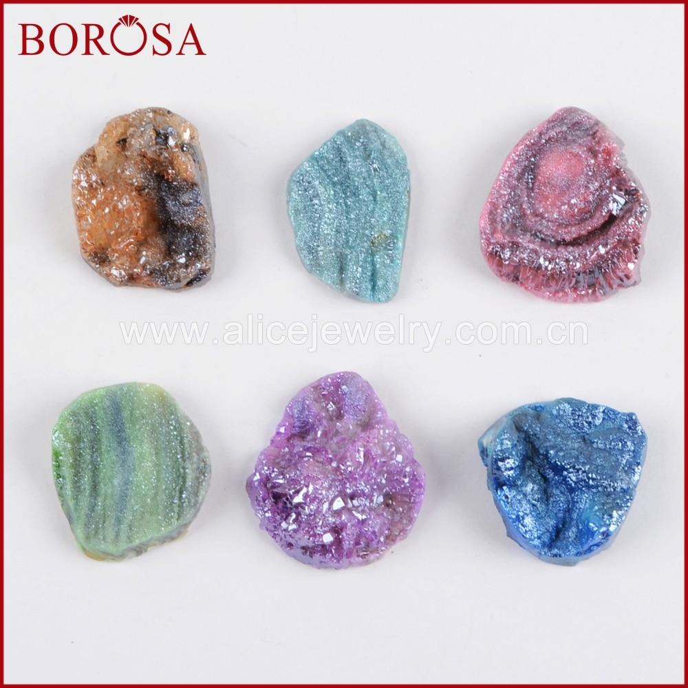 BOROSA 5/10PCS Freeform Titanium Rainbow Ga-laxy Druzy Cabochon CAB Beads Mix Colors Quartz Beads for Jewelry Making LS019