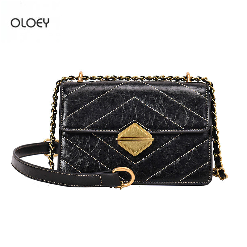 OLOEY Women s Bag Chain Shoulder Crossbody Bag Retro Shoulder Strap Square Pouch Embroidered PU Leather
