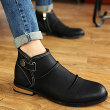 Fashion Plus Velvet Retro Round Toe Martin Boots Cuts Out Men Boots High Top Buckle Zip Pleated cotton-padded Shoes