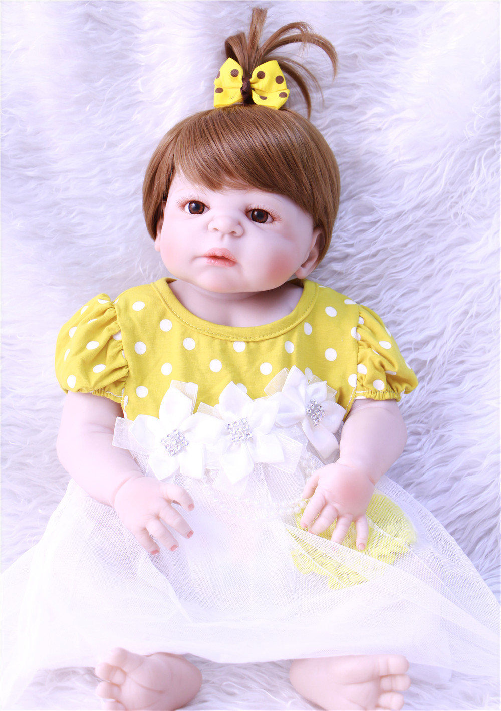 bebe reborn brown eyes girl doll menina de full silicone menina 55cm Reborn Handmade Baby Dolls Vinyl completa toys for children 60w 12v 5a waterproof outdoor single output switching power supply smps ac to dc