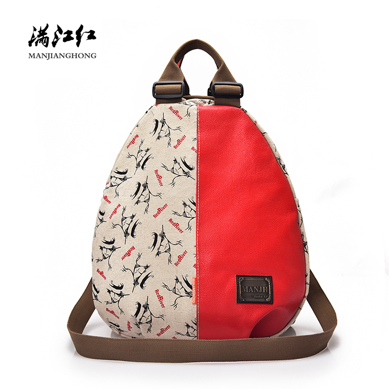 Fashion Printing Canvas Women Travel Backpack Patchwork Leather Shoulder Backpack Bags Female School Backpack For Girls