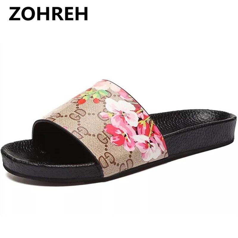 2018 Для женщин тапочки повседневные туфли на плоской подошве Брендовая дизайнерская обувь с вышивкой цветет слипоны шлепанцы сандалии для п...