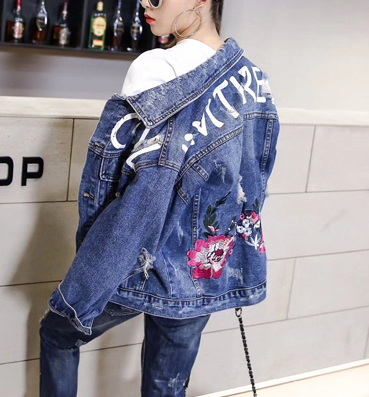 Denim Blue Outwear Vestes Manteau Jean Navy Veste Automne Casual Femelle De Femmes Mode Broderie Floral Femme Trou Base 6Ibgf7yvmY