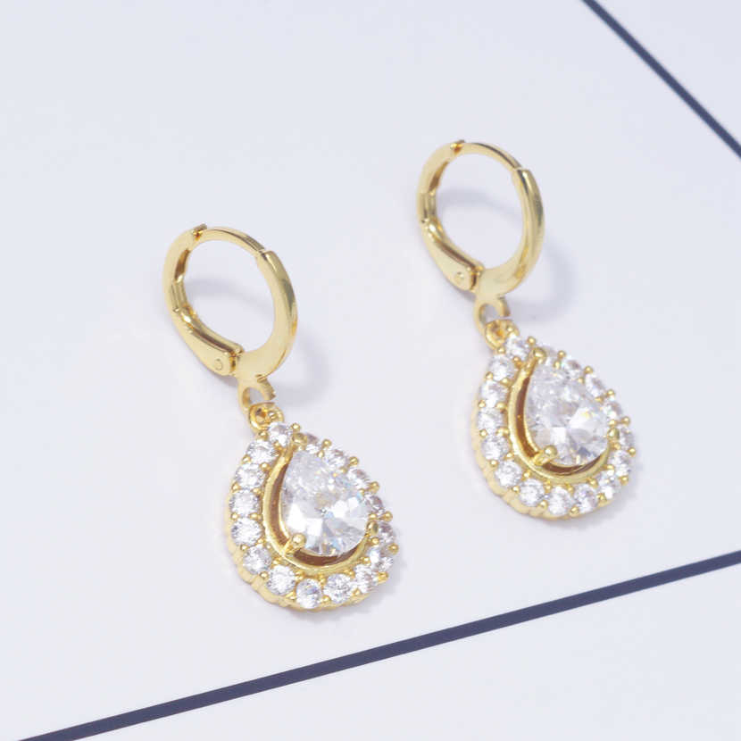 Earings Water Drop Fashion Office Lady Drop Earrings for Women White Cubic Zircon Gold Filled Wedding Jewelry Dropshipping