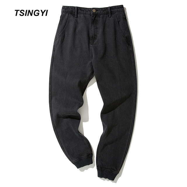 Tsingyi Spring Japanese Style Black Men Jogger Pants Denim Skinny Jeans Men Casual Homme Harem Pant Mens Sweat Pants Size 28-36