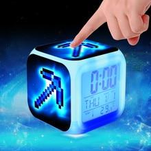 Детский будильник Led мультфильм klok изменение цвета reveil стол reloj despertador цифровой будильник Пробуждение светильник