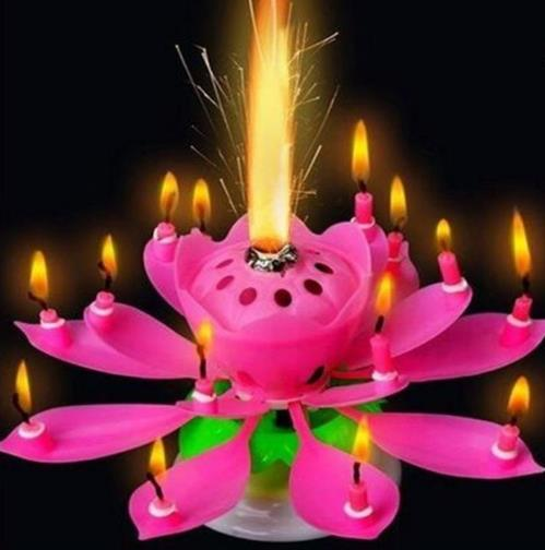 Musical Birthday Candle Magic Lotus Flower Candles Blossom Rotating Spin Party 14Small 2layers Cake Topper Gift