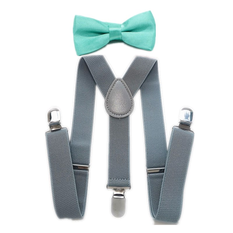 Children Kids Light Grey Suspender +Mint Green Bow Tie Sets Baby Adjustable 3 Clips Braces Neck Tie Set LB001-S Size