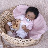 Реалистичные мягкие силиконовые 20 дюймов Reborn Африканский американская Кукла младенец новорожденный мальчик кукла черный тон кожи черные к