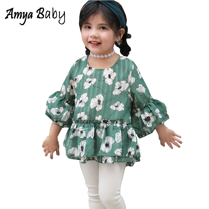 Amyababy Toddler Girls Summer Shirts Half Sleeve Floral T-shirt Kids Girls Tops Tees Children Clothing Todder Tshirt Girl Tshirt