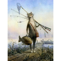 Frameless Cat Fishing Animals Diy Digital Painting By Numbers Kits Drawing Paint By Numbers Wall Art