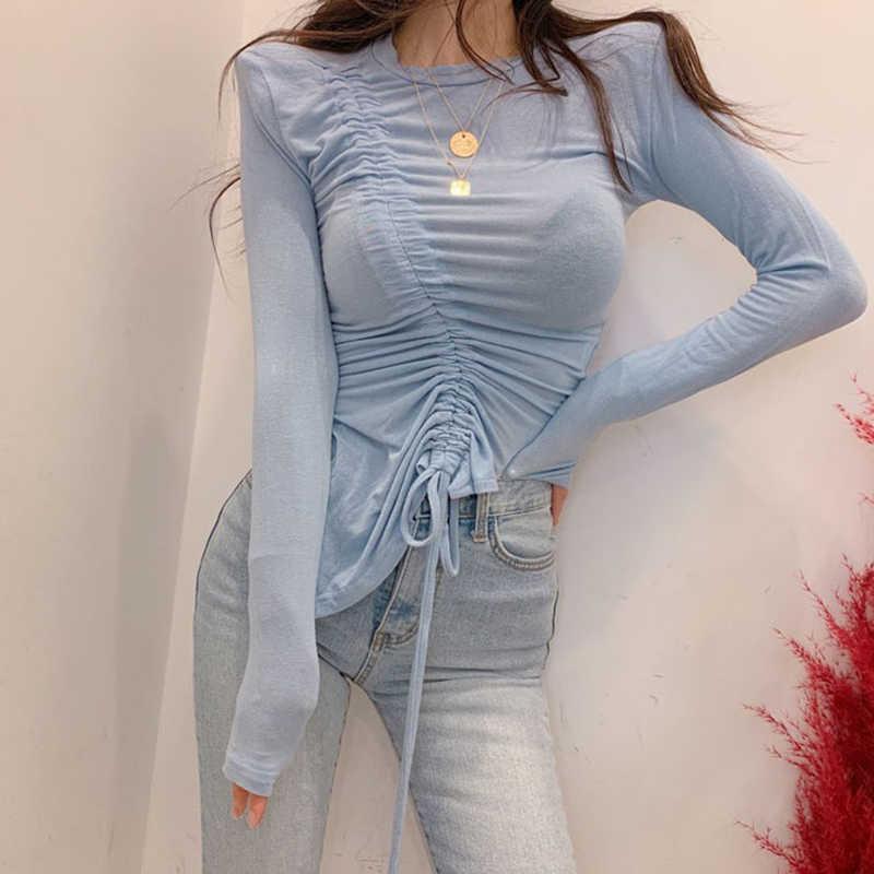Galcaur elegante sólido t-camisa para mulher o pescoço manga longa cordão assimétrico t-shirts moda feminina verão 2019 novo