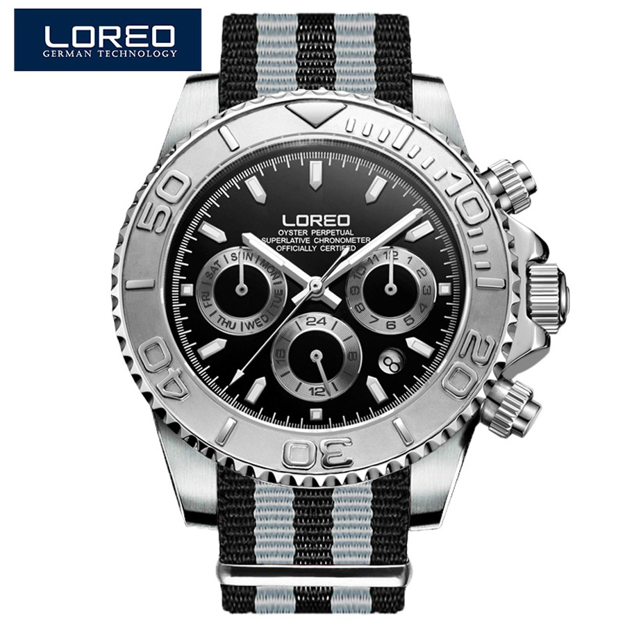 Diving LOREO Brand Watch Luxury Sapphire Men Waterproof 200M Automatic Mechanical Watch Male Military watches relogio masculino loreo black genuine leather 200m diving military mechanical luxury men sports watches fashion automatic wristwatches male