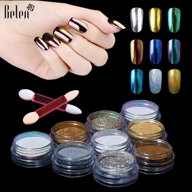 Belen Uv Gel Nail Polish Metallic Mirror Effect Holographic Chrome Powder Sponge Stick For Polishnails