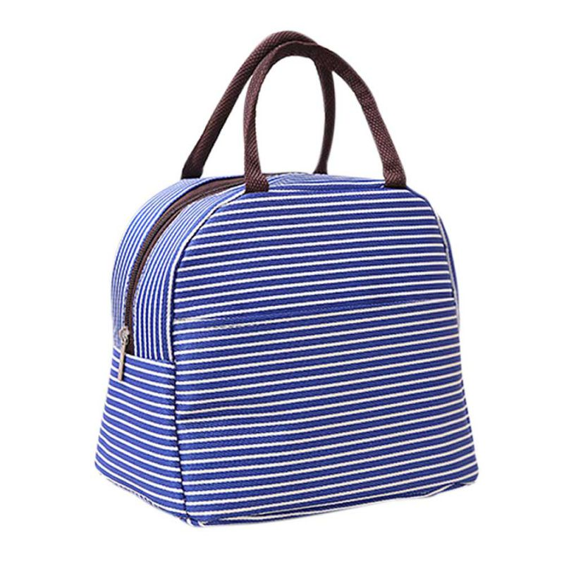 Portable Canvas Lunch Bag Striped Cooler Insulated Thermal Storage Women Kids Men Cooler Storage Box Bag