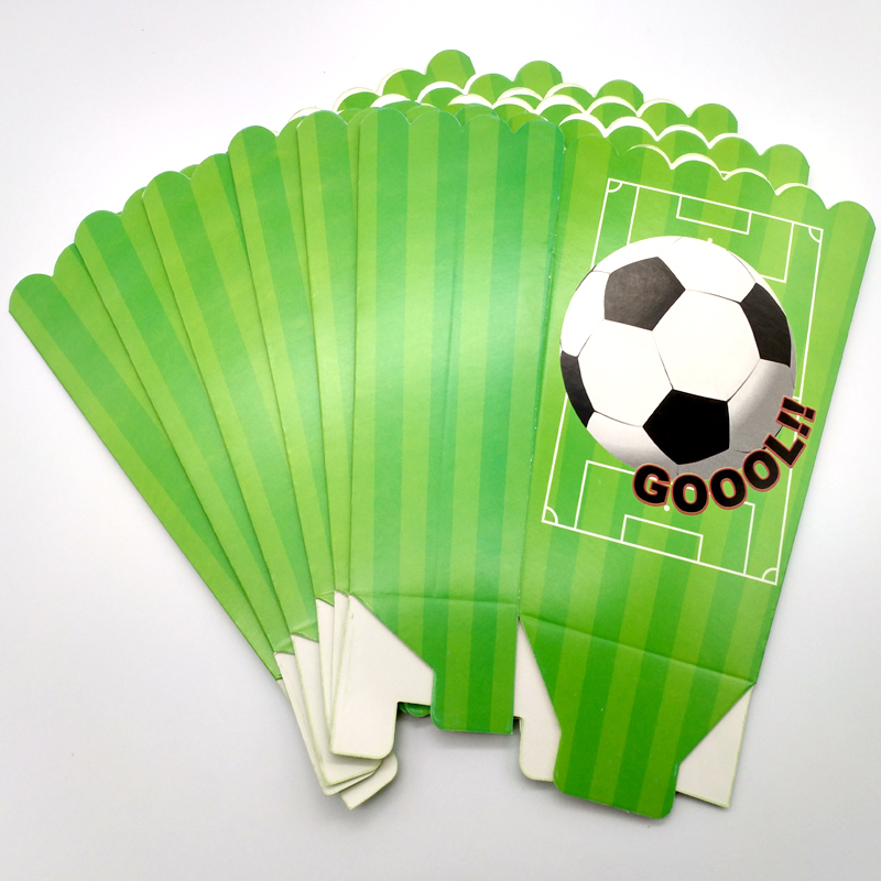 Birthday Party Soccer/Football Design Popcorn Cups Happy Baby Shower Decorate Boys Favors Paperboard Gifts Boxes 6pcs/pack