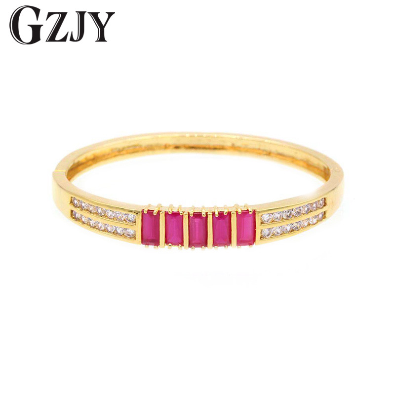GZJY Fashion font b Jewelry b font Gold Color Bracelet Bangle For Women Red Zircon Bracelets