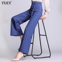 Женские брюки 2019 новый корейский узор широкие ноги элегантные брюки женские с высокой талией в пол