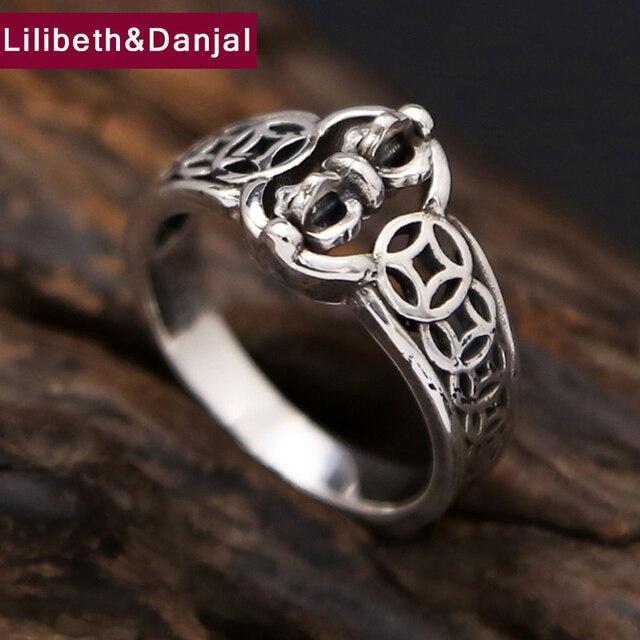 Nuevo Vajra Simple anillo giratorio monedas 100% de Plata de Ley 925 anillo de plata 925 para los hombres y las mujeres regalo de Navidad joyería fina GR52