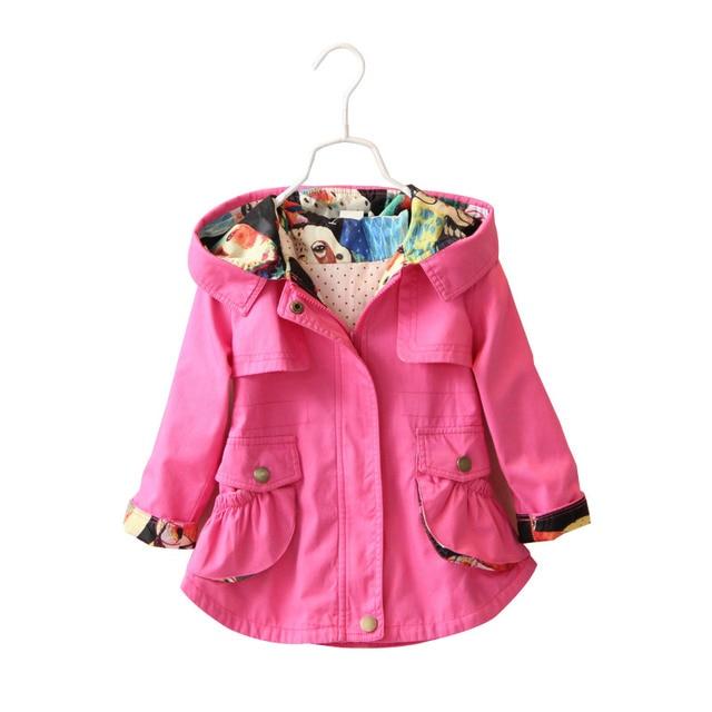 85c91704e Children Girls Jacket Hooded Waist Cotton Kids Outerwear Baby Girl ...