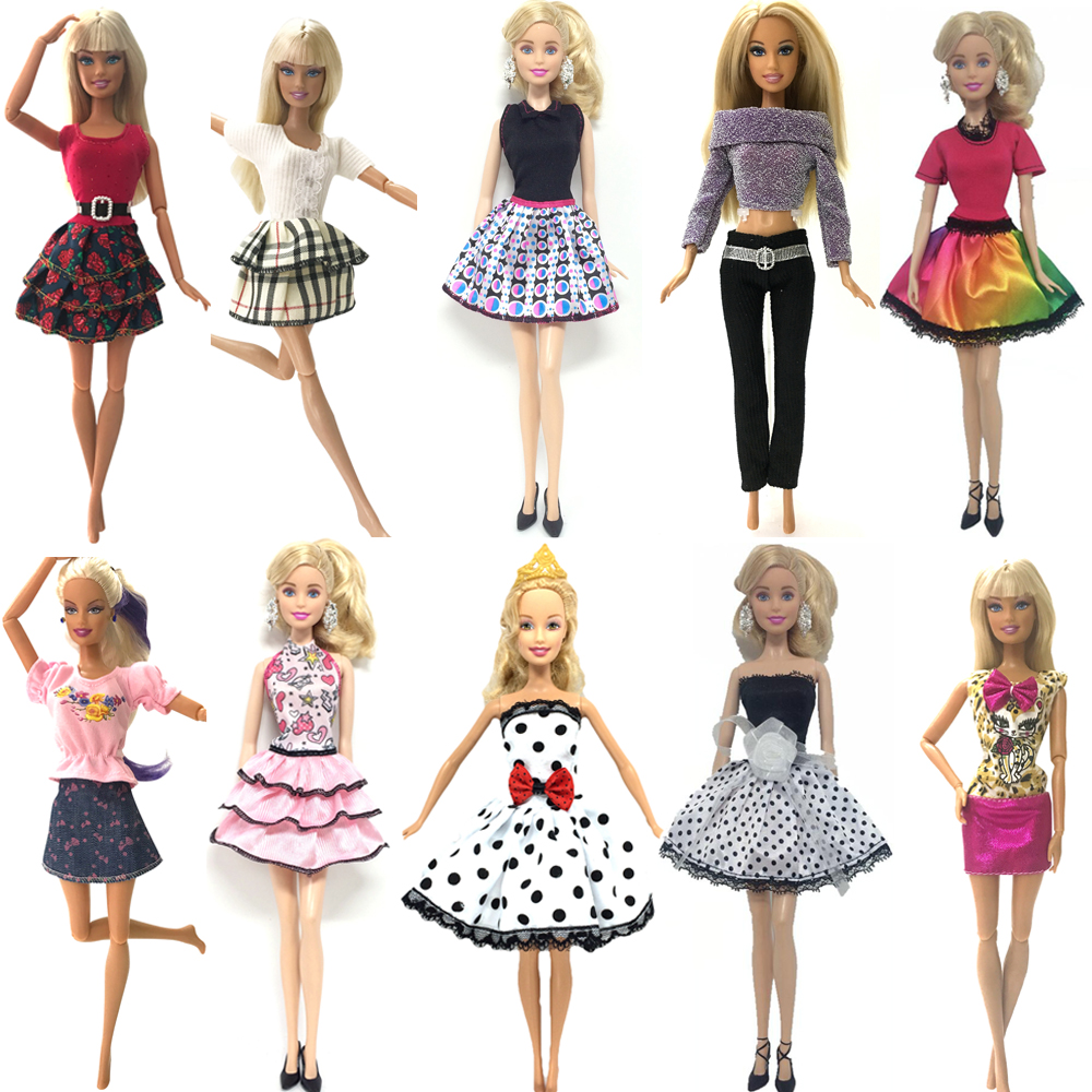 NK 10 Set/Lot Princess Doll Dress Noble Party Gown For Barbie Doll Fashion Design Outfit Best Gift For Girl' Doll hotsale