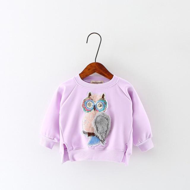 Для маленьких девочек Блёстки Сова кофты Хлопок Мягкий теплый рубашка с рисунками длинными рубашка с рукавами для маленьких девочек плюс бархат