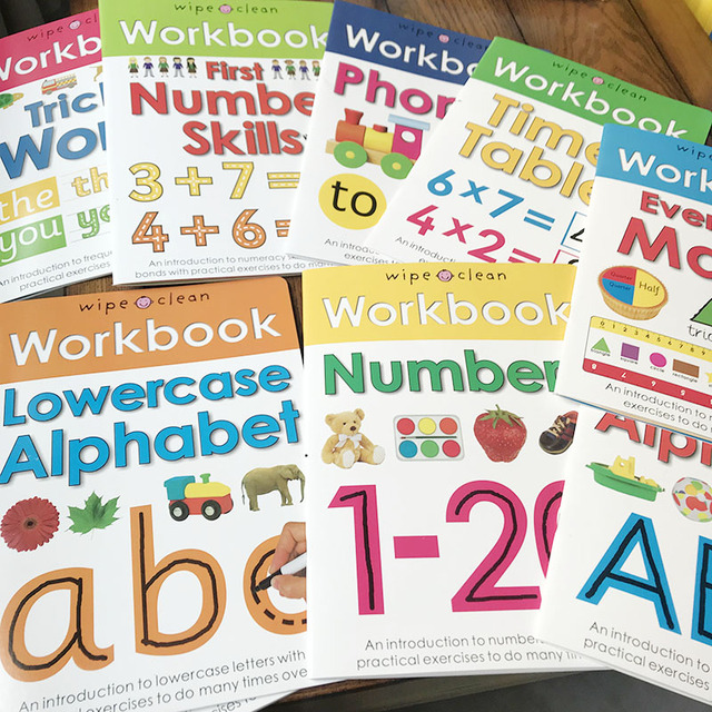 10 Books/Set Wipe Clean Workbook Children Kids English Picture Book Learn ABC Alphabet/Times/Maths/Tricky Phonics Words 1