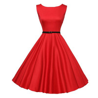 Summer Dress 2018 Party Dress Solid Black Red Vintage Bodycon Sleeveless Casual Retro Swing Dress Herfst