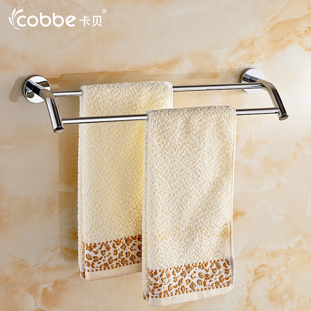 free shipping copper towel racks double towel bar wall hanger bathroom accessories towel rails chrome cobbe - Bathroom Accessories Towel Rail