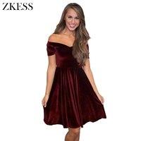 Zkess Women Cute Sweet Velvet Off Shoulder Pleated Swing Dress Slash Neck Short Sleeve Mini Skater