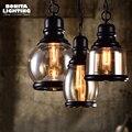 Чердак промышленные подвесные лампы Янтарное стекло Эдисон Ретро подвесные лампы цепь пеньковая веревка подвесное освещение для ресторан...