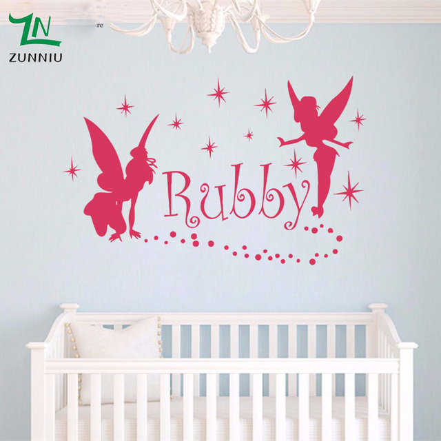 Fairies gngel dress stars custom name wall stickers for girls kids rooms wall personalized names decoration