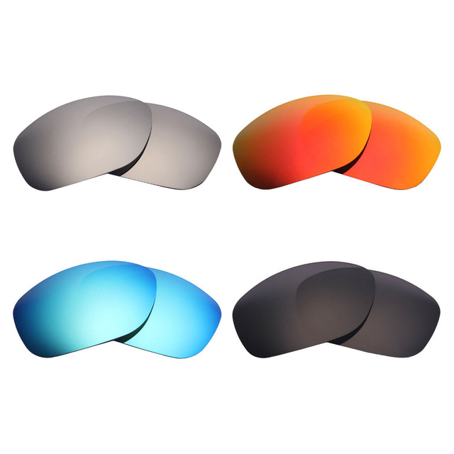 b3b763beca 4 Pairs Mryok POLARIZED Replacement Lenses for Oakley Pit Bull Sunglasses  Stealth Black   Ice Blue