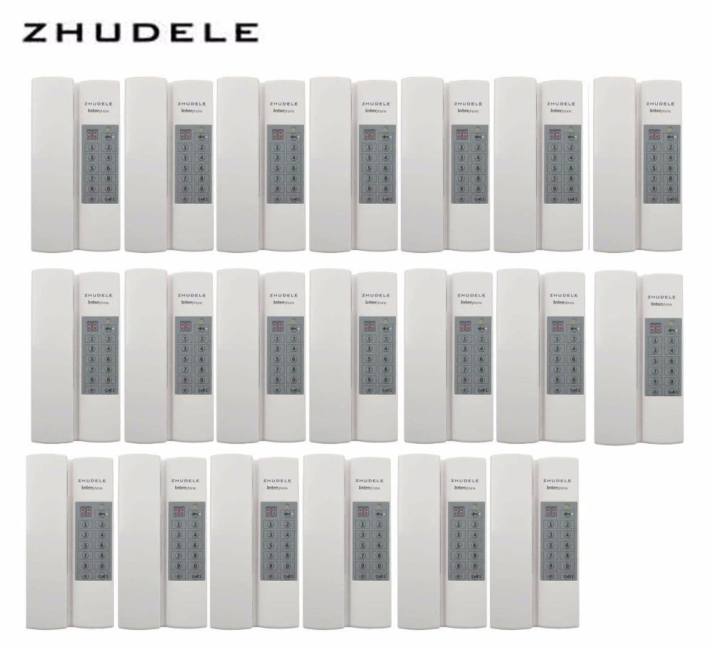 ZHUDELE Reasonable price Indoor safe&comfortable interphone system 20-handles w/t Broadcast/Group calling ,unlock (optional)