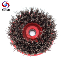 RIJILEI 2PCS 4inch Round Steel Wire Antique Abrasive Brushes For Stone antique grinding brush for granite polishing YG28