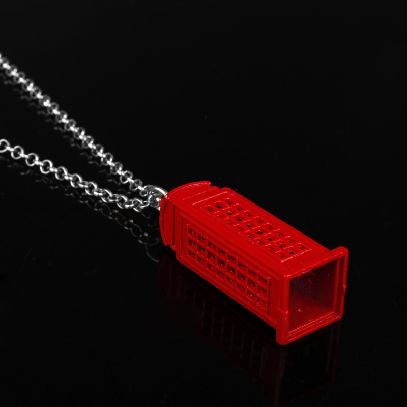 Wholesale Movie Jewelry Dr. Mysterious Police Box House Red Telephone Booth Pendant Neckalces Doctor Who Necklace Xmas Gift